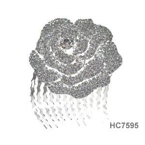 Peigne cheveux avec pierres et fleurs