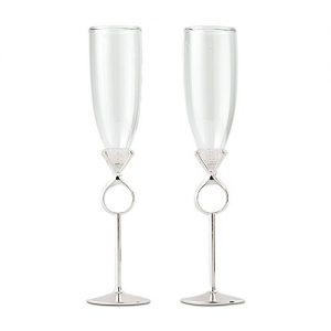 Verre Champagne Bague A Diamant De Fiancailles Ou De Mariage