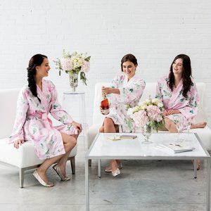 Robe Peignoir Satin Fleurie Personnalisé