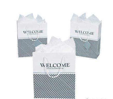 Sacs De Cadeau De Mariage De Bienvenue Moyen Nautique Avec étiquettes Pour 12